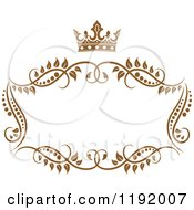 Clipart Of A Golden Floral Frame With A Crown Royalty Free Vector Illustration by Vector Tradition SM