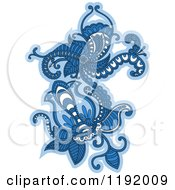 Clipart Of A Blue Floral Design Element 2 Royalty Free Vector Illustration