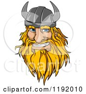 Cartoon Of A Happy Blond Male Viking Warrrior Face With A Helmet And Beard Royalty Free Vector Clipart by Vector Tradition SM