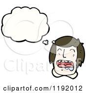 Cartoon Of A Crying Boy Thinking Royalty Free Vector Illustration