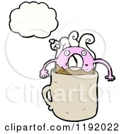 Cartoon Of A Pink Donut Dunked In Coffee Royalty Free Vector Illustration by lineartestpilot