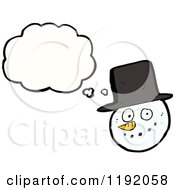 Cartoon Of A Snowman Christmas Ornament Thinking Royalty Free Vector Illustration
