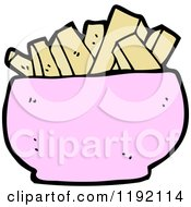 Cartoon Of A Pink Bowl Of Food Royalty Free Vector Illustration