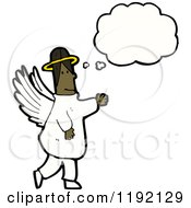 Cartoon Of An African American Angel Thinking Royalty Free Vector Illustration