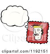 Cartoon Of A Postage Stamp With A King Thinking Royalty Free Vector Illustration