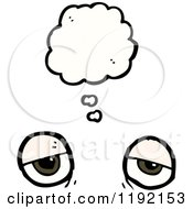 Cartoon Of A Pair Of Eyes Thinking Royalty Free Vector Illustration
