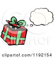 Cartoon Of A Christmas Gift Thinking Royalty Free Vector Illustration