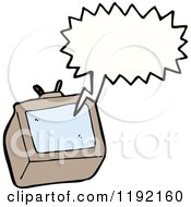Cartoon Of A Computer Monitor Speaking Royalty Free Vector Illustration by lineartestpilot