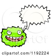 Cartoon Of A Green Furry Monster Speaking Royalty Free Vector Illustration