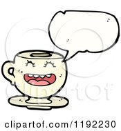 Cartoon Of A Teacup Speaking Royalty Free Vector Illustration