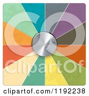 Clipart Of A 3d Silver Dial And Colorful Segments On White Royalty Free Vector Illustration