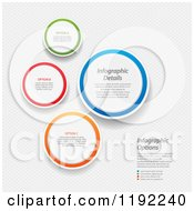 Clipart Of Colorful Infographic Circles With Sample Text Over Mesh Vector File And Experience Recommended Royalty Free Vector Illustration by elaineitalia