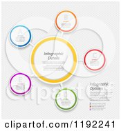 Clipart Of Infographic Networked Circles With Sample Text Over Mesh Vector File And Experience Recommended Royalty Free Vector Illustration