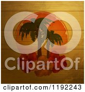 Sunset With Palm Trees And Hibiscus Flowers On Distressed Wood Panels