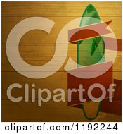 Clipart Of A Red Banner And Surfboard On Wood Panels Royalty Free Vector Illustration by elaineitalia