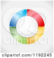 Clipart Of A Circle Button And Colorful Panels In A Circle Around It On Shading Royalty Free Vector Illustration