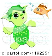 Cartoon Of A Fish And Happy Turtle Talking Underwater Royalty Free Vector Clipart by bpearth