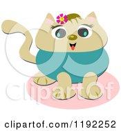 Happy Cat Wearing A Flower