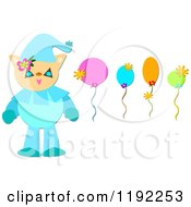 Cat Clown And Colorful Balloons With Flowers