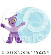 Happy Purple Alien And Blue Planet