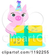 Cartoon Of A Cute Piggy Wearing A Party Hat Over A Birthday Present Royalty Free Vector Clipart