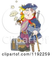 Cartoon Of A Happy Peg Legged Pirate With A Parrot Smoking A Pipe By A Treasure Chest Royalty Free Vector Clipart