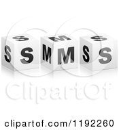 Clipart Of 3d Black And White Cubes Spelling SMS Royalty Free Vector Illustration