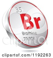 Clipart Of A 3d Floating Round Red And Silver Bromine Chemical Element Icon Royalty Free Vector Illustration