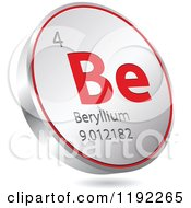 Clipart Of A 3d Floating Round Red And Silver Beryllium Chemical Element Icon Royalty Free Vector Illustration