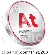 Clipart Of A 3d Floating Round Red And Silver Astatine Chemical Element Icon Royalty Free Vector Illustration
