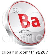 Clipart Of A 3d Floating Round Red And Silver Barium Chemical Element Icon Royalty Free Vector Illustration