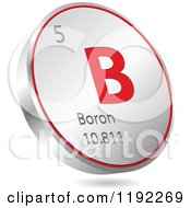 Clipart Of A 3d Floating Round Red And Silver Boron Chemical Element Icon Royalty Free Vector Illustration