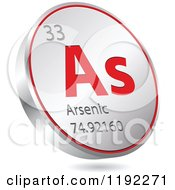 Clipart Of A 3d Floating Round Red And Silver Arsenic Chemical Element Icon Royalty Free Vector Illustration