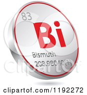 Clipart Of A 3d Floating Round Red And Silver Bismuth Chemical Element Icon Royalty Free Vector Illustration