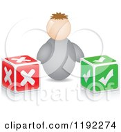 Clipart Of A Man And X And Check Boxes Royalty Free Vector Illustration