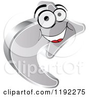 Clipart Of A Happy 3d Silver Arrow Royalty Free Vector Illustration