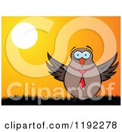 Clipart Of A Business Owl Against A Sunset Royalty Free Vector Illustration