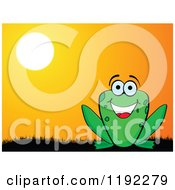 Clipart Of A Happy Frog Against A Sunset Royalty Free Vector Illustration by Andrei Marincas