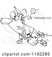 Cartoon Black And White Line Art Of A Distracted Baseball Player Getting Whacked In The Head Royalty Free Vector Clipart