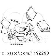 Cartoon Black And White Line Art Of A Happy Boy Throwing Supplies On The Last Day Of School Royalty Free Vector Clipart