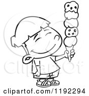 Cartoon Black And White Line Art Of A Happy Asian Boy Holding A 5 Scoop Waffle Ice Cream Cone Royalty Free Vector Clipart