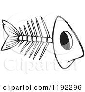 Black And White Line Art Of A Fish Bone Skeleton