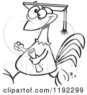 Cartoon Black And White Line Art Of A Proud Chicken Graduate Walking With A Cap And Diploma Royalty Free Vector Clipart by toonaday