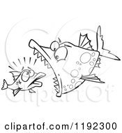 Cartoon Black And White Line Art Of A Doomed Fish About To Be Eaten By A Big Fish Royalty Free Vector Clipart