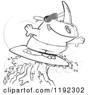 Cartoon Black And White Line Art Of A Surfing Rhino Riding A Wave Royalty Free Vector Clipart by toonaday
