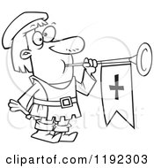 Cartoon Black And White Line Art Of A Herald Blowing A Horn Royalty Free Vector Clipart by toonaday