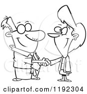 Cartoon Black And White Line Art Of A Business Man And Woman Shaking Hands Royalty Free Vector Clipart by toonaday