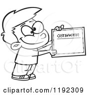 Cartoon Black And White Line Art Of A Proud School Boy Holding A Certificate Of Achievement Royalty Free Vector Clipart by toonaday