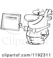 Cartoon Black And White Line Art Of A Proud Man Holding A Certificate Of Achievement Royalty Free Vector Clipart by toonaday