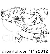 Cartoon Black And White Line Art Of A Cheerful Castle Cook Chef Carrying A Pig Head On A Platter Royalty Free Vector Clipart